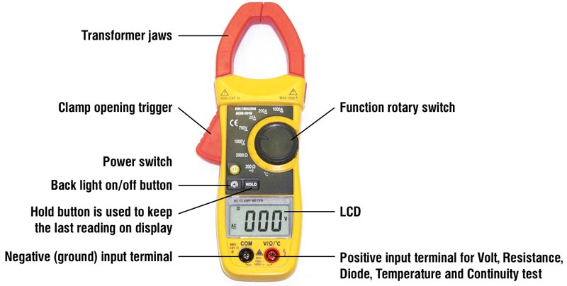 Controls of AKTAKOM ACM-1010 Clamp Meter