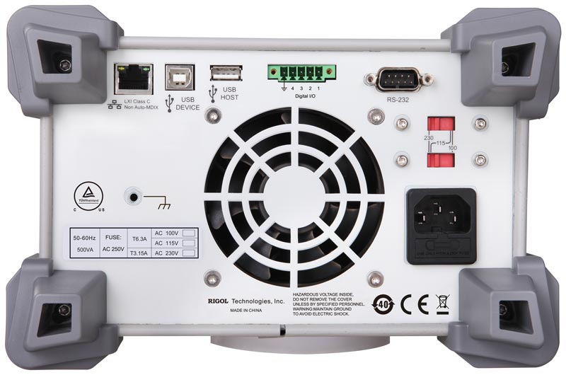 RIGOL DP832A Triple Output, 195 Watt Power Supply - rear view