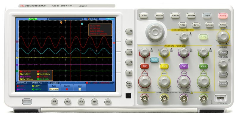 AKTAKOM ADS-2074T Touch Screen Digital Storage Oscilloscope 70MHz 1GS/s - front view