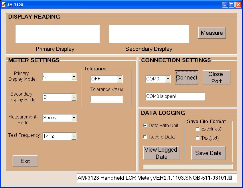 AKTAKOM AM-312x-SW Software for LCR meters - settings