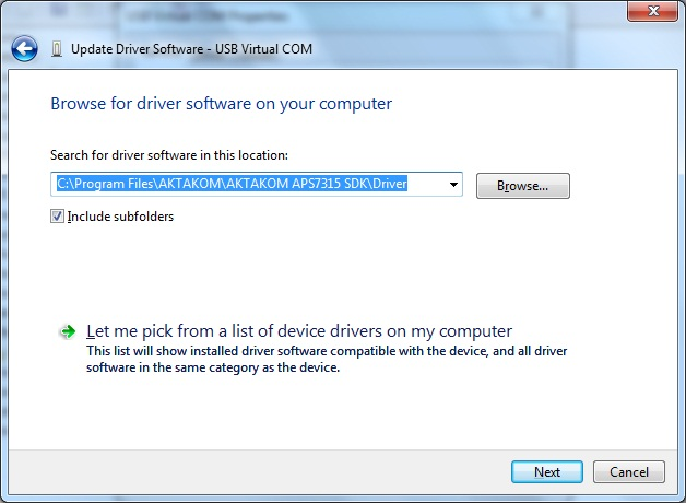 AKTAKOM APS-7315_SDK Software Development Kit - Installing driver software - step 4