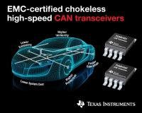 TI introduces chokeless high-speed CAN transceiver families with industry-leading EMC performance