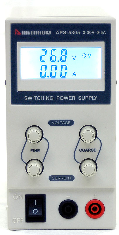 AKTAKOM APS-5305 DC Power Supply 30V / 5A 1 channel - front panel
