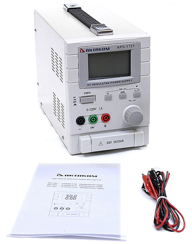 AKTAKOM APS-1721 DC Power Supply 120V / 1A 1 Channel - with accessories