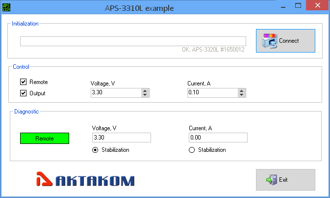 AKTAKOM APS-3xxxLx_SDK_MS_VB Software Development Kit - example
