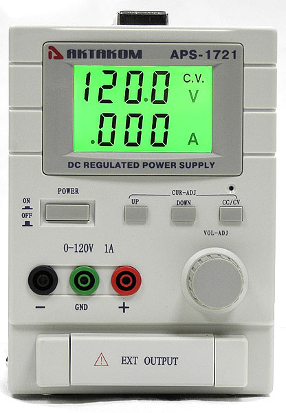 AKTAKOM APS-1721 DC Power Supply 120V / 1A 1 Channel - front view