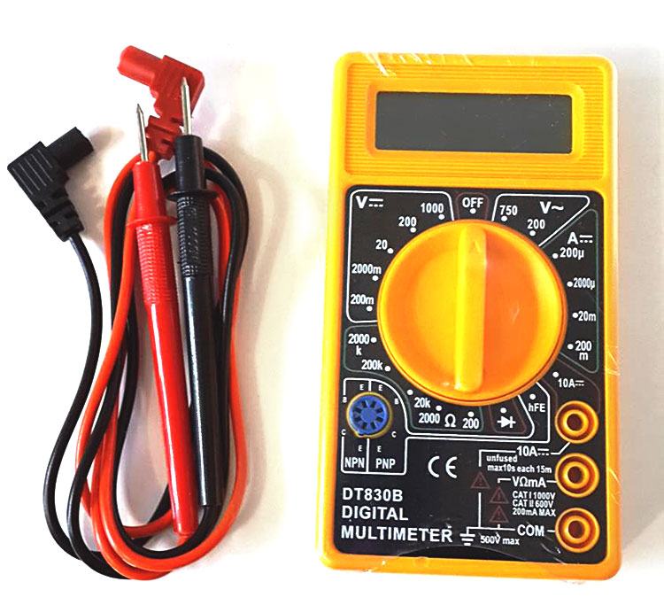 DT830B Digital Multimeter - test leads