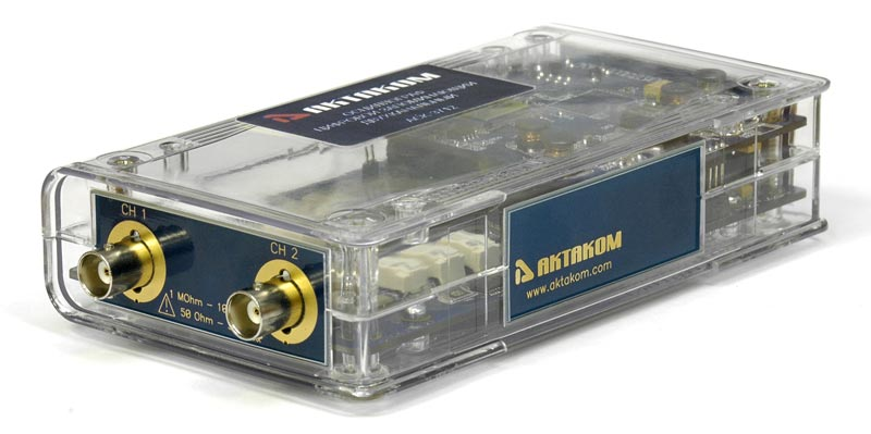AKTAKOM ACK-3712 dual-channel USB PC-based oscilloscope  - Side view