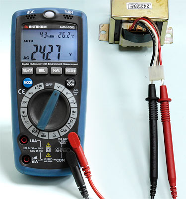 AKTAKOM AMM-1062 Professional Digital Multimeter with Environment Measurements - AC Voltage measurement