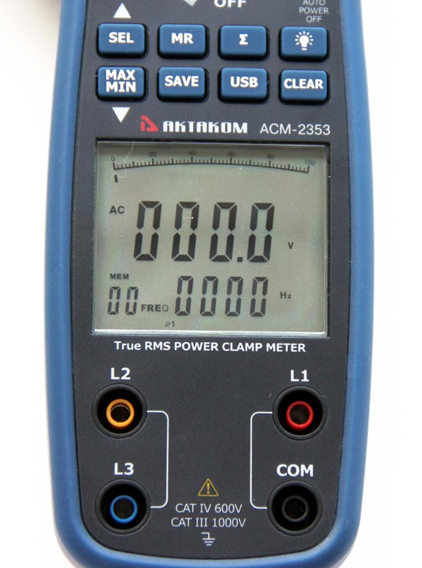 AKTAKOM ACM-2353 1000 A AC/DC Clamp & Watt Meter. True RMS + 3 Phase Power Analysis + Memory & USB - display