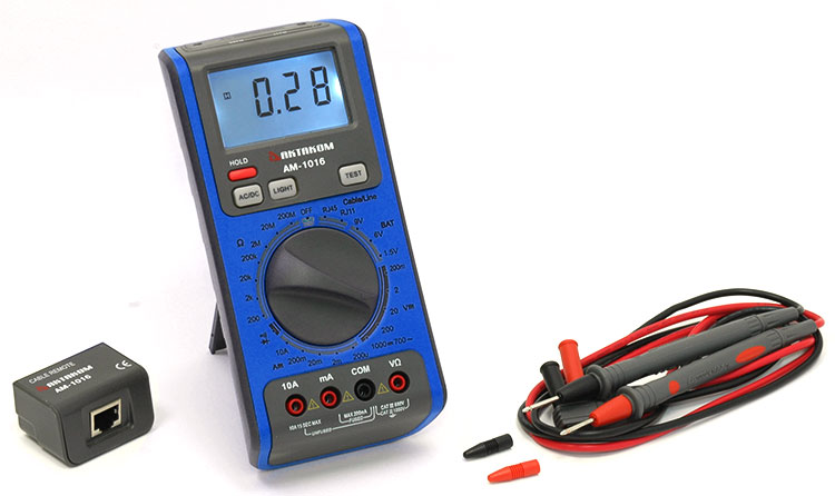 AKTAKOM AM-1016 Network Multimeter for testing LAN cables & Phone lines - with accessories