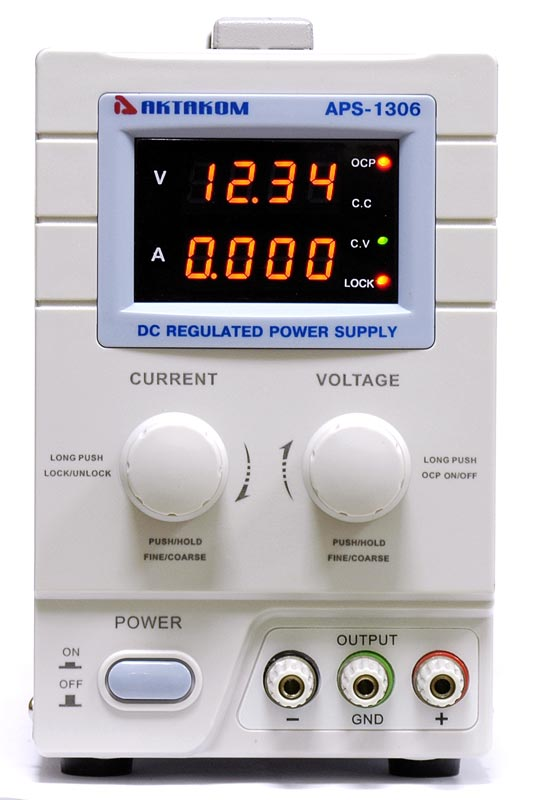 AKTAKOM APS-1306 DC Regulated Power supply - front view