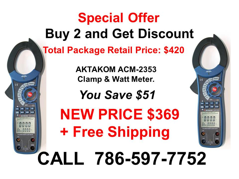 AKTAKOM ACM-2353 1000 A AC/DC Clamp & Watt Meter. True RMS + 3 Phase Power Analysis + Memory & USB - Special Offer