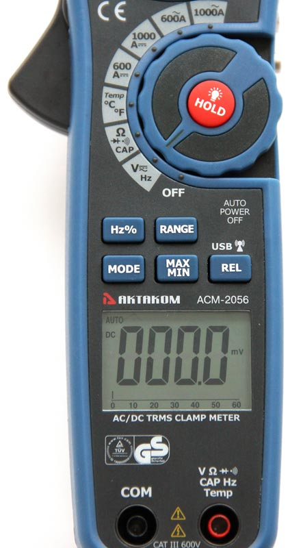 AKTAKOM ACM-2056 1000 A AC/DC Clamp Meter. True RMS + Multimeter + Wireless USB - display