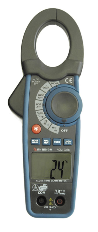AKTAKOM ACM-2368 1000 A AC/DC Clamp Meter. True RMS + Inrush + Pulse and Temperature measurements