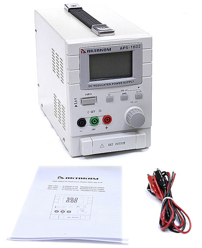 AKTAKOM APS-1602 DC Power Supply 60V / 2A 1 Channel - with accessories