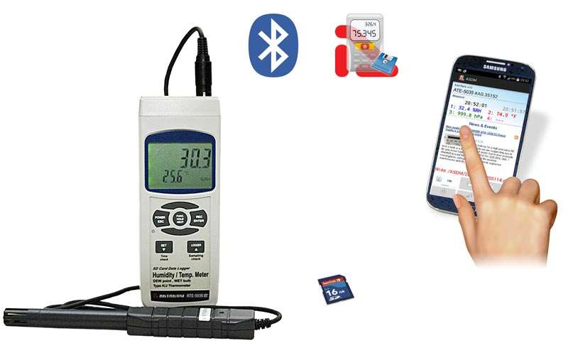 AKTAKOM ATE-5035BT Humidity and Temperature Meter, Real time SD memory card Datalogger with Bluetooth interface - aquire measured data on a mobile device