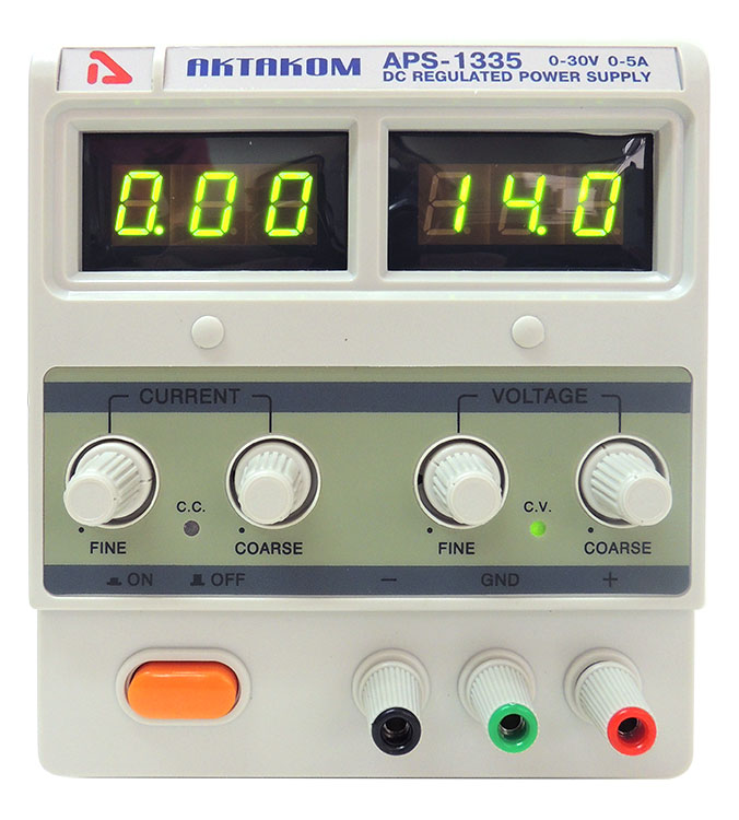 AKTAKOM APS-1335 DC Power Supply 150W 30V / 5A 1 Channel - face view
