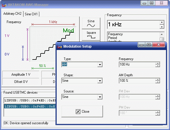 AKTAKOM AKTAKOM AWG Manager Application Software - Modulation setup