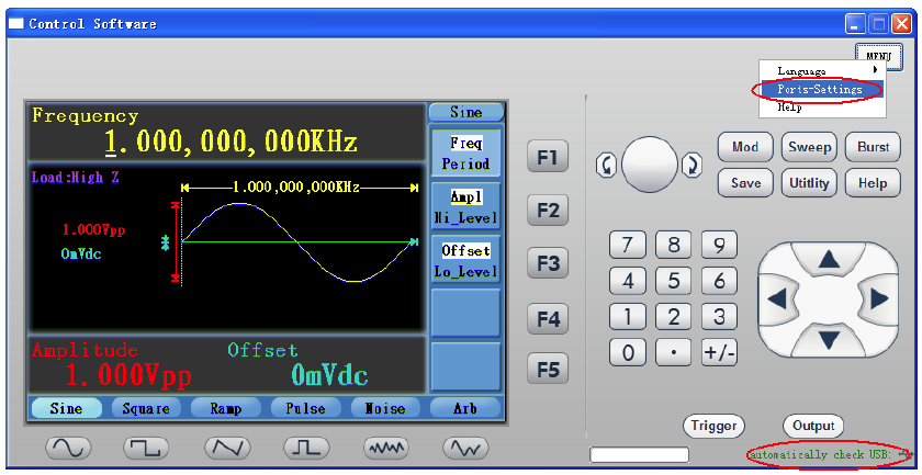 AKTAKOM AWG-4151 Function/Arbitrary Waveform Generator 150MHz 1CH 2Mpts - Software