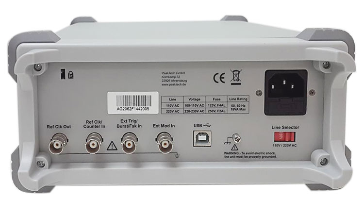 OWON AG-2062F Waveform Generator - back view
