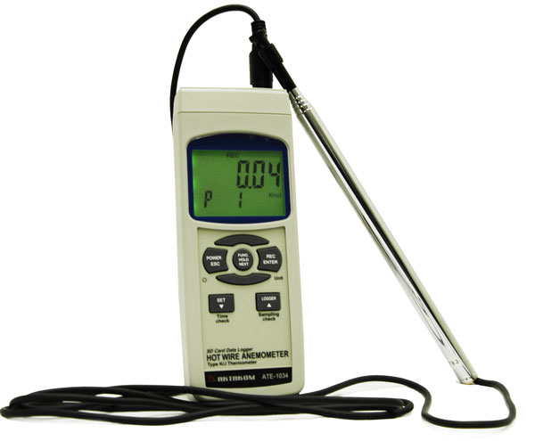 "AKTAKOM ATE-1034 Hot Wire Anemometer-Thermometer with Excel-formatted Data Logging SD Card and ""K/J"" Port"