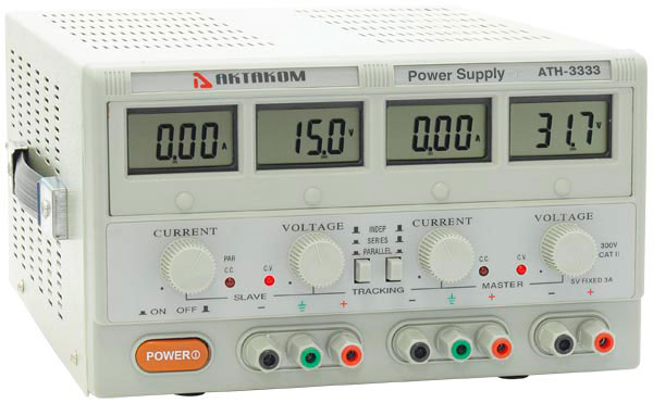 AKTAKOM ATH-3333 DC Power Supply 2 x 30V; 2 x 3A; 5V/3A; 3 channel