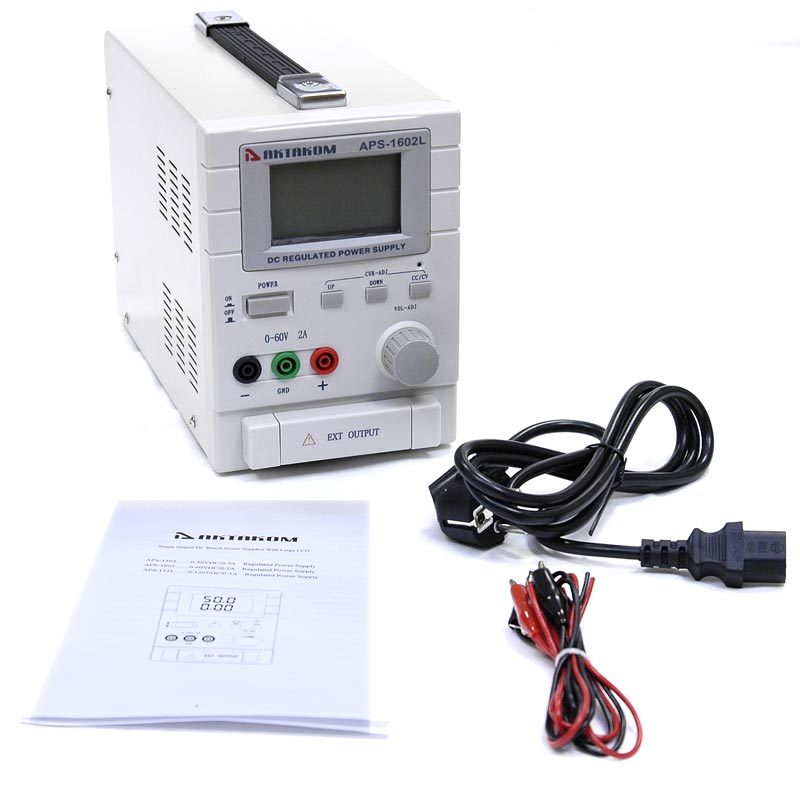 AKTAKOM APS-1602LS DC Power Supply 60V / 2A 1 Channel - with accessories