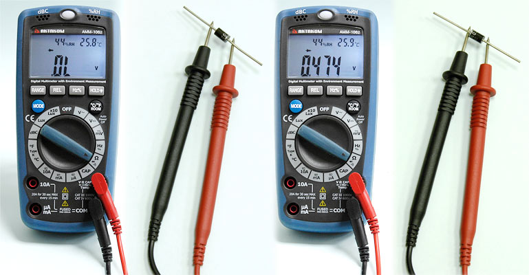 AKTAKOM AMM-1062 Professional Digital Multimeter with Environment Measurements - Measuring Diode