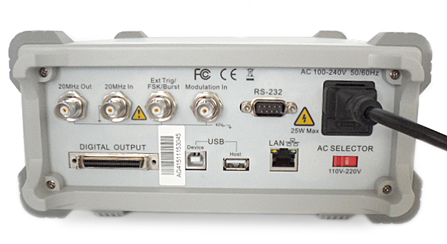 AKTAKOM AWG-4151 Function/Arbitrary Waveform Generator 150MHz 1CH 2Mpts - rear view