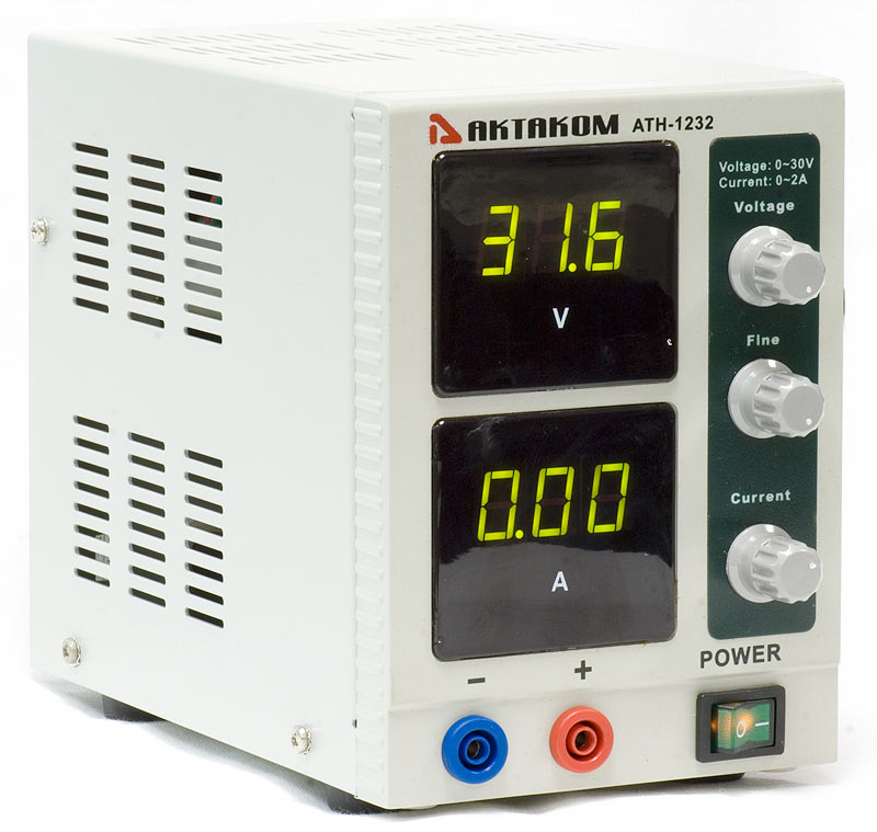 AKTAKOM ATH-1232 DC Power Supply 30V / 2A 1 Channel - side view