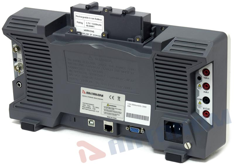 AKTAKOM ADS-6122H-VGA-DMM Digital Storage Oscilloscope 100MHz 1GSa/s - optional battery installation