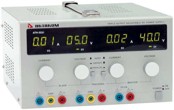 AKTAKOM ATH-3243 DC Power Supply 40V/3A (2 adjustable channels), 5V/3A (1 fixed channel)