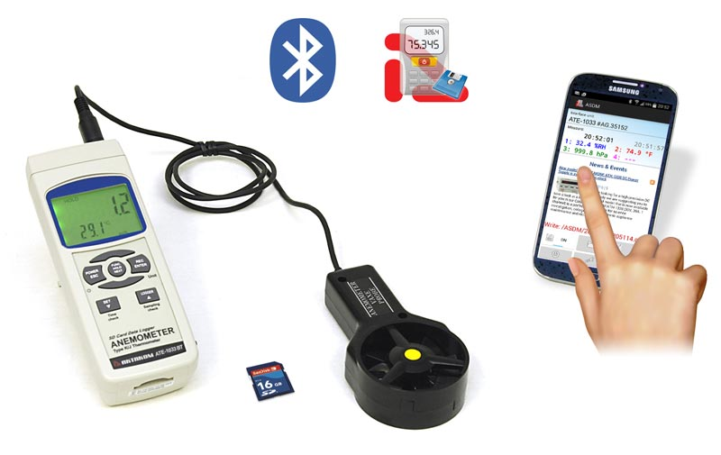 AKTAKOM ATE-1033BT Thermo-Anemometer. Real time SD memory card Datalogger with Bluetooth interface - aquire measured data on a mobile device